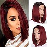 Royalvirgin côté supplémentaire japonais 30,5cm haute température Fibre Synthétique Perruque courte ombré Noir Vin Rouge Couleur American africain Bob Perruques Cheveux pour femme