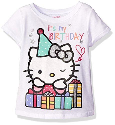 Hello Kitty Girls' Little Girls' Happy Birthday T-Shirt, Bright White, 6