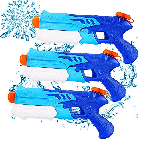 Ucradle Wasserpistole, 3 Stück Kinder Wasserpistolen mit 9M Großer Reichweite, 300ML Wasserblaster Spielzeug für Kinder und Erwachsene, Spritzpistole Sommerspielzeug ab 6 Jahr für Garten, Strand, Pool