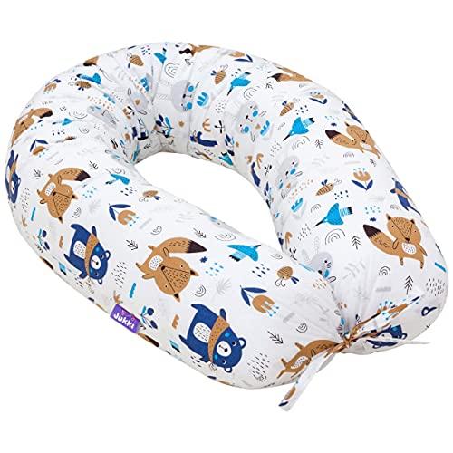 Jukki Cojín de lactancia, cojín para dormir de lado, cojín de embarazo XXL, cojín de 170 cm para madre y bebé, cojín de posicionamiento, con funda hecha de algodón 100 %