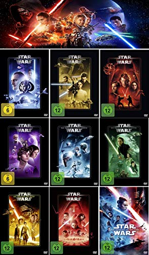 Star Wars 1 - 9 Komplett (Dunkle Bedrohung - Aufstieg Skywalkers) [9er DVD-Set] Kein Box-Set