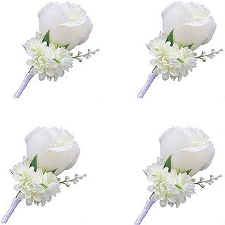 WeddingBobDIY Boutonniere Botões Groom Groomsman Best Man Rosa Flores de casamento Acessórios de decoração de terno de for...