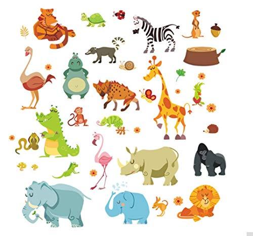 ZBYLL Les Animaux de la Jungle Stickers Lion Serpent Zoo éléphant DIY Autocollants Accueil Chambres Chambre à Coucher Enfants maternelles Safari Cadeaux décoration