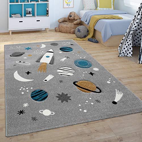 Paco Home Alfombra Infantil De Juegos Habitación Infantil Universo Cohete Planetas Gris, tamaño:80x150 cm