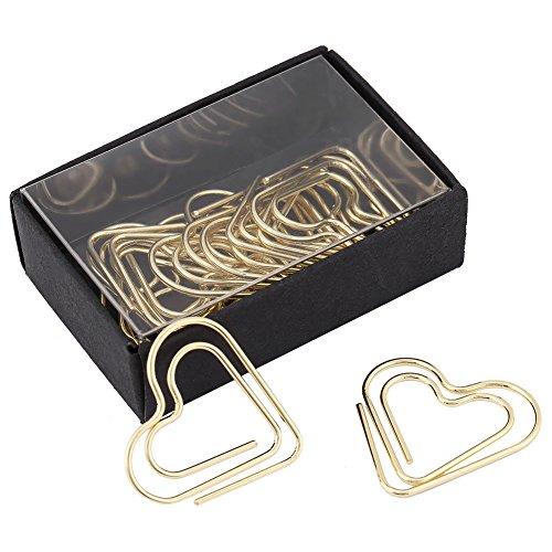 12Papier Clips Lesezeichen, Creative Herz Form Büroklammer Lesezeichen Markieren Dokument Organisation Clip Office Supplies Geschenke gold