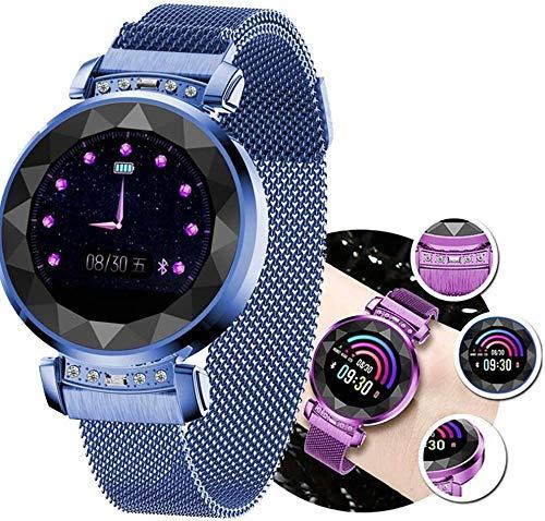 JSL Fitness Smart Watch - Reloj de pulsera para mujer, color con medidor de presión arterial y frecuencia cardíaca, grabación de pasos, previsión meteorológica, foto de sueño, color azul