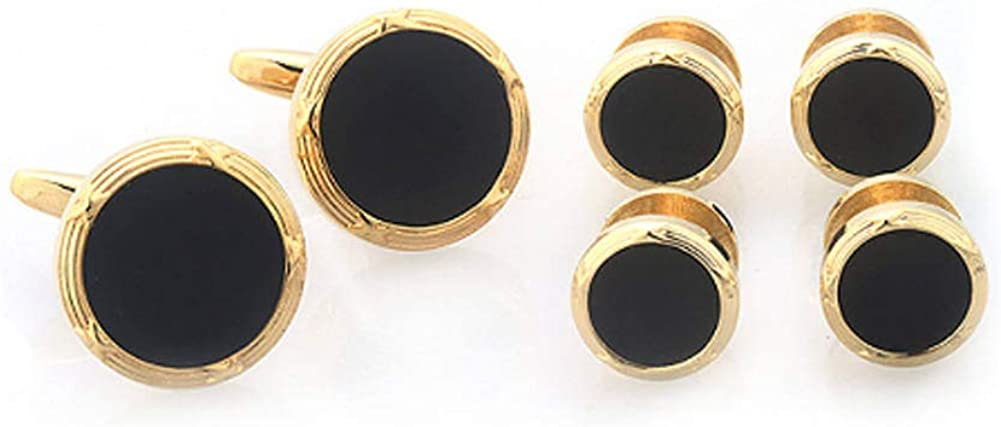 Williams and Clark Gold Tone Black Onyx Cufflinks with 4 Matching Shirt Studs Gold Rim with Cuff Links Shirt Studs