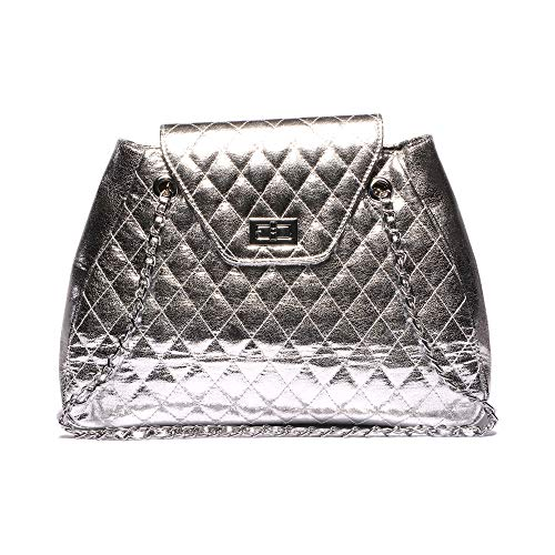 MATERIAL: Crafted out of Eco Vegan Leather. Soft and elastic shiny silver handbags for women fabric is easy to clean and is resistant to moisture. Nickel zippers and locks STRAP: A shoulder strap in the form of a chain interwoven with leather. Nickel...