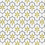 Ciwind - Papel pintado extraíble con diseño floral antiguo, papel pintado para decoración de casa, 45 cm x 10 m, color amarillo