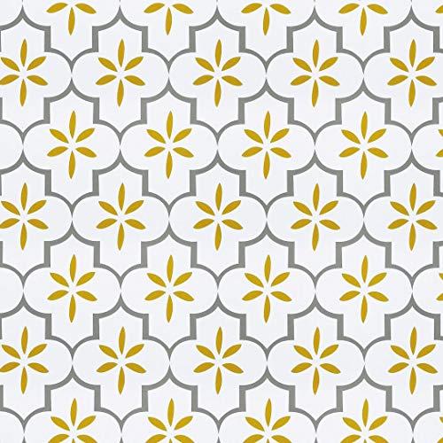 Ciwind - Papel pintado extraíble de flores antiguas, papel pintado para pared, pelar y pegar, decoración de casa, 17,7 x 5 m, color amarillo