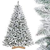 FairyTrees künstlicher Weihnachtsbaum FICHTE, Natur-Weiss mit...