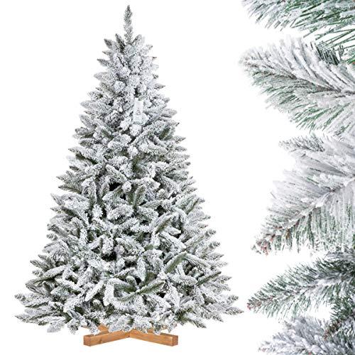 FairyTrees Árbol de Navidad Artificial Artificial Picea, Flocado con Copos DE Nieve, el Tronco Verde, Material PVC, Soporte de Madera, 180cm, FT13-180