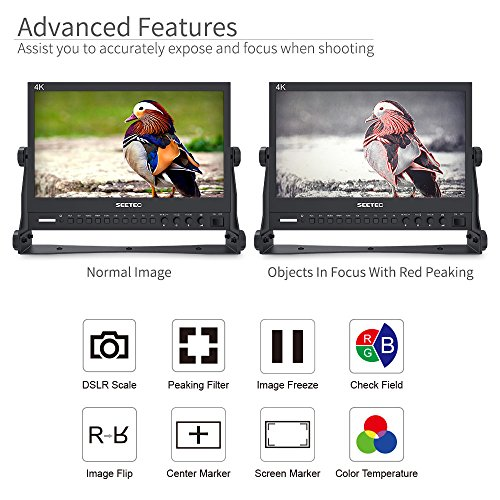 SEETEC P133-9HSD 13.3 Inch Pro SDI Broadcast Monitor Professional LCD Director Studio Production Monitoring IPS Screen Full HD 1920×1080 Aluminum Design with 3G-SDI 4K HDMI AV YPbPr