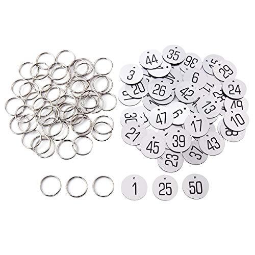 Anladia 1 bis 50 Kennzeichnungsmarken Textmarken Zahlenmarken Schlüsselmarken mit Schlüsselringe Silber