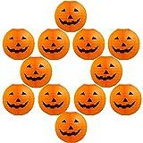 12 Pieces Halloween Jack-O-Lantern Pumpkin Hanging Paper Lantern for Halloween Indoor Outdoor Party Decoration Supplies, 8 Inch