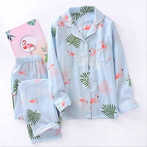XFLOWR Frühlings-Schlafanzug-Set für Damen, Flamingo-Aufdruck, 100% Gaze-Baumwolle, bequem, dünn, Hausbekleidung, Set mit Langen Ärmeln und Hosen, blau, m