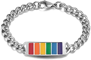 Personalized Stainless Steel Gay Pride &Lesbian Pride Rainbow Chain Bracelet Link Wristband for Pride
