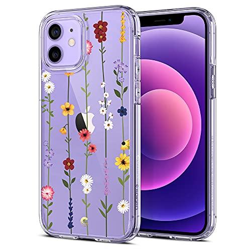 CYRILL Cecile kompatibel mit iPhone 12 Pro & iPhone 12 Hülle, (2020) (6,1 Zoll) Transparent Motiv Hart PC Back und Soft Silikon Bumper Handyhülle Durchsichtige Hülle - Blumen Garten
