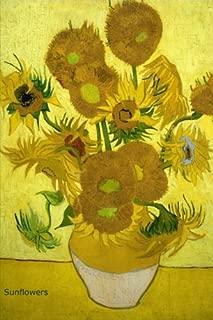 Girasoles: Van Gogh, diario rayado / rayado (cuaderno, libro de composición) 160 páginas, laminado 6x9 in (15,24 x 22,86 cm)