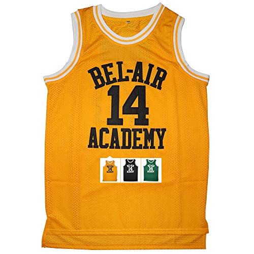 Kobejersey 14 Bel Air Academy Basketball Jersey S-XXXL (Yellow, XL)