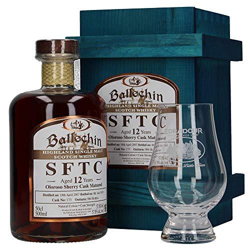 Ballechin SFTC Highland Single Malt Scotch Whisky, Oloroso Sherry Cask No. 173, 12 Jahre gereift, mit 1 Glas, 0,5 L