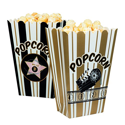 Boland 44210–Juego de cuencos para palomitas Hollywood, blanco/negro/oro