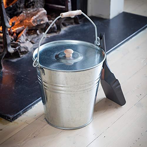 CKB LTD Seau de rangement latéral avec couvercle amovible – Support universel pour cheminée et grill – Acier galvanisé