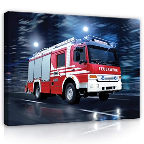 Forwall Leinwandbild Canvas Feuerwehr Auto Kinderzimmer - Leinwand Bilder Wandbilder für Kinder Bild Kunstdruck Kinderbild Wanddekoration PP1499O1 100cm x 75cm