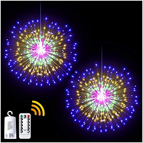 DenicMic 2Pcs Starburst Lights 200 LED Firework Lights Copper LED Christmas Lights, 8 Modes Fairy Light with Remote, Hanging Ball Light for Christmas Bedroom Party Indoor Outdoor Decoration (Colorful)
