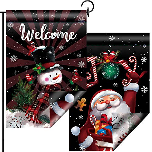 Sumind Christmas Garden Flag Double Sided House Flag Santa Joy Snowman with Buffalo Plaid Scarf Decorative Outdoor Sign Flag Welcome Yard Flag for Winter Xmas Holiday Party Decor, 12.5 x 18.5 Inch