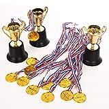 Fashionbabies 40PCS di medaglie trofeo Kit,medaglie in plastica oro da 36 pezzi e trofei i...