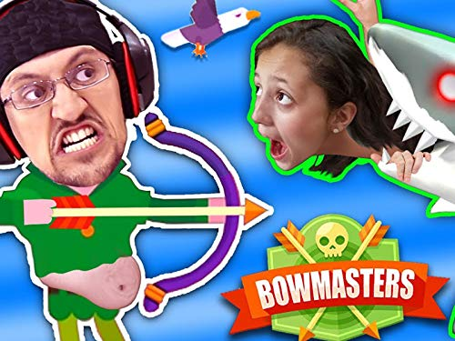 Mommy Can I Shoot A Shark Pweeez? Bowmasters Game With FGTeeV Duddy Chunky Boy