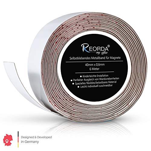 Reorda Selbstklebendes Metallband für Magnete - Schneidbar I Belastbar I Flexibel I Ferroband (Band Länge 6m, Breite 4cm)