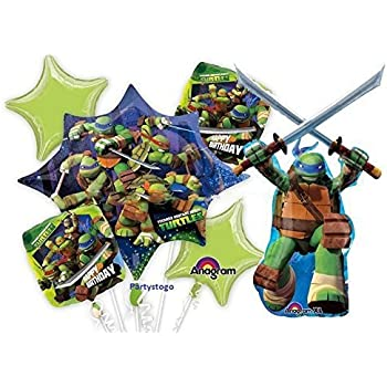 Mayflower Products Teenage Mutant Ninja Turtles 7th Birthday Party Supplies and TMNT Balloon Bouquet Decorations