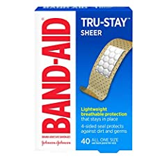 40-count box of Band-Aid Brand Tru-Stay Sheer Strips Adhesive Bandages to help minor cuts and scrapes heal. These sterile bandages are sheer in appearance and make for great first aid supplies The Microvent backing of these sheer bandages provides su...