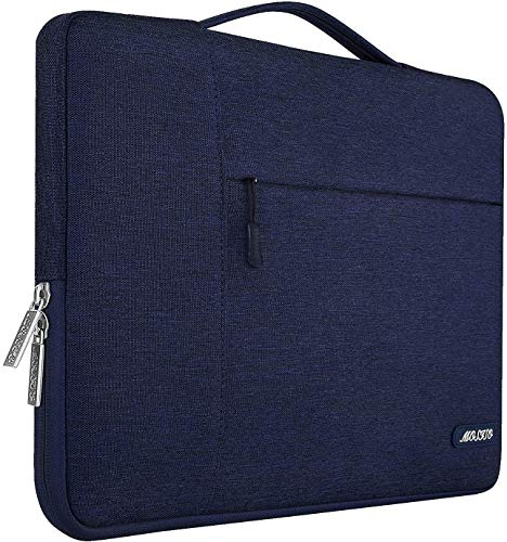 MOSISO Laptop Briefcase Compatible with MacBook Pro 16 inch, 15 15.4 15.6 inch Dell Lenovo HP Asus Acer Samsung Sony Chromebook, Polyester Multifunctional Sleeve Carrying Bag, Navy Blue