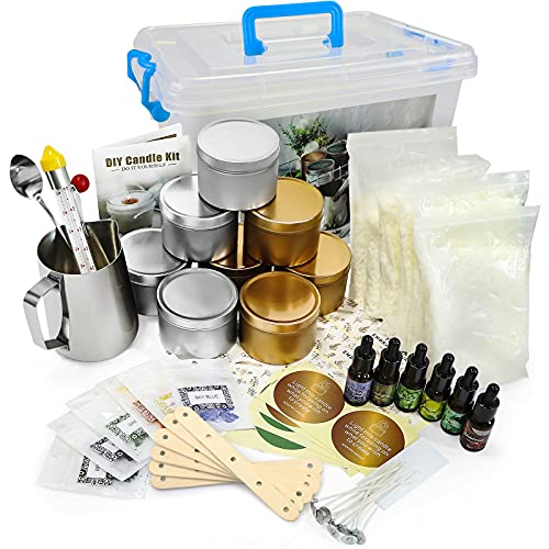 DIY Candle Making Kit Supplies Set Scented Candle for Art and Craft Soy Wax, Fragrance Oil, Cotton Wicks, Candle Pigment, Candles Craft Supplies 81 Piece Gifts Set