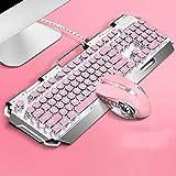 Teclado para juegos Elegante teclado portátil teclado for juegos portátil rosado lindo de la llave mecánica Mouse Set juego de teclado y ratón Muchacha rosada del corazón Notas del Juego (Color: Plata