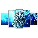 キャンバスリビングルーム家の装飾壁アート写真仮想空間動物フクロウ絵画HDプリントポスター(40x60cmx2 40x80cmx2 40x100cmフレームなし)