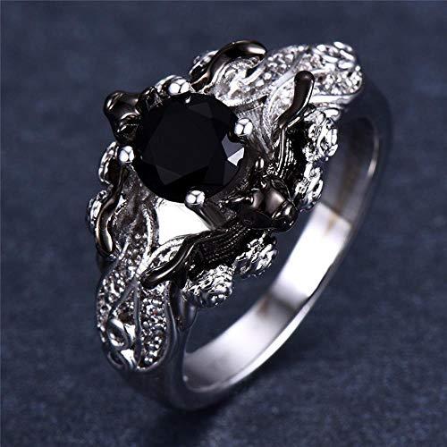 Yoin Punk - Anillo de piedra para hombre y mujer, diseño gótico, color negro y negro, estilo único, anillos de boda, 8