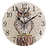 YYYJIA Beautiful Hand Drawn Owl Vintage 9 Inch Round Acrylic Wall Clock Non Ticking Silent Clocks Art for Home Decor Living Room Kitchen Bedroom Office School