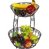 Simple Houseware 2-Tier Countertop Fruit Basket Bowl Storage, Bronze