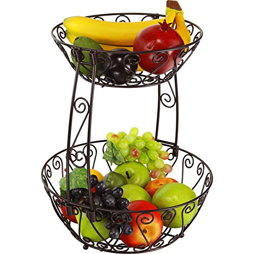 Simple Houseware 2-Tier Countertop Fruit Basket Bowl Storage, Bronze