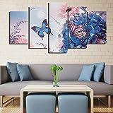 QQWW Cuadro sobre Impresión Lienzo 5 Piezas -Mural Moderno 5 Piezas Mariposas Azul Hortensia Flores Girasol Dormitorios Decoración para -No Tejido Lienzo Impresión- Modular