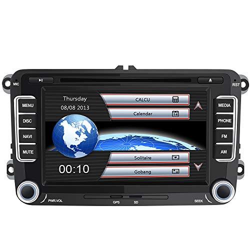 "Autoradio con Pantalla Táctil 2 DIN Reproductor MP5 Multimedia 7"" de Coche, Radio GPS Navegador con Bluetooth GPS, CD DVD, FM RDS para VW con Tarjeta de Mapa 8GB Gratis"