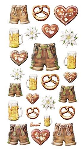 Logbuch-Verlag 25 Aufkleber bayerische Deko Soft-Sticker Bayern Party Oktoberfest Brezel Lederhose Bier Lebkuchenherz selbstklebend Tourismus