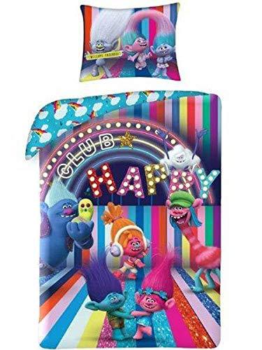 Ropa de cama infantil Trolls Poppy Happy Club 2 piezas – Juego de funda nórdica de 140 x 200 cm + 1 funda de almohada, multicolor, Öko-Tex