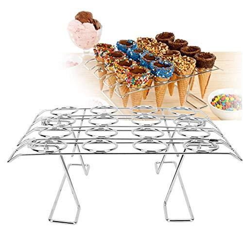 【𝐒𝐩𝐫𝐢𝐧𝐠 𝐒𝐚𝐥𝐞 𝐆𝐢𝐟𝐭】wosume Cupcake Cone Baking Rack, 16 Slots Folding Stainless Steel Ice Cream Display Cooling Rack Holder for Baking Cake Cupcake 2 Pack