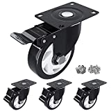 HOSOM 3' Swivel Caster Wheels with Safety Dual...