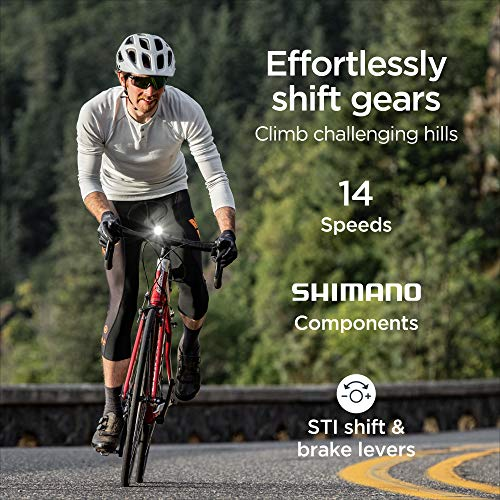 Schwinn Fastback Tourney AL Adult Performance Road Bike, Beginner to Intermediate Bicycle Riders, 700c Wheels, 14-Speed Drivetrain, Extra-Large Aluminum Frame, Red